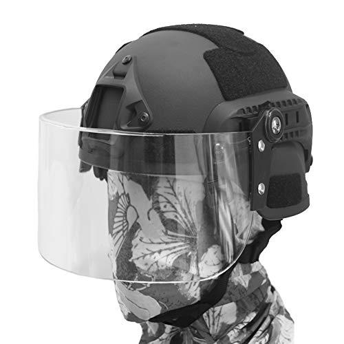 QZY Mich 2000 Casco Táctico con Máscara de Protección Antidisturbios Transparente, SWAT Combat PJ Tipo Casco Rápido para CQB Shooting Airsoft Paintball Cara Protección