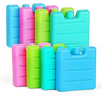 Lot de 8 Mini Pains de Glace Blocs Réfrigérants de 7.5x7x1.5cm/65g Sac de Congélation Réutilisables pour Glacière Sac Isotherme Petite Glacière-Vert Clair/Bleu/Rose/Vert Jaunâtre