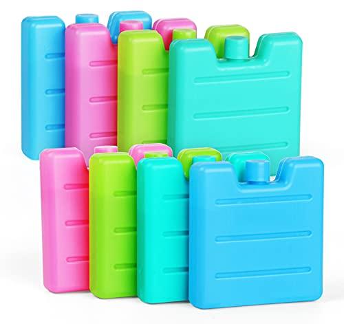 Set di 8 mini panini di ghiaccio per frigo da 7,5 x 7 x 1,5 cm/65 g, sacchetto refrigerante riutilizzabile per borsa isotermica piccola frigo, verde chiaro/blu/rosa/verde giallo