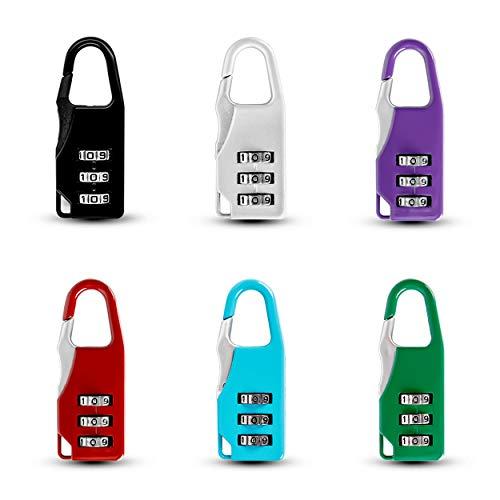 6 Pcs Mini Cerradura De Equipaje Fácil de Cargar 3 Dígitos Candado De Combinación Bloqueo para Bolsa de Viaje Maleta Mochila