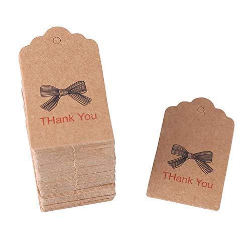 Ladieshow Hochzeitsbevorzugung Tags, 100pcs Brown Handmade Hang Label Hochzeitsbevorzugung Geschenk Dessert Tags Kleidung Schmuck Preisschild(#1)