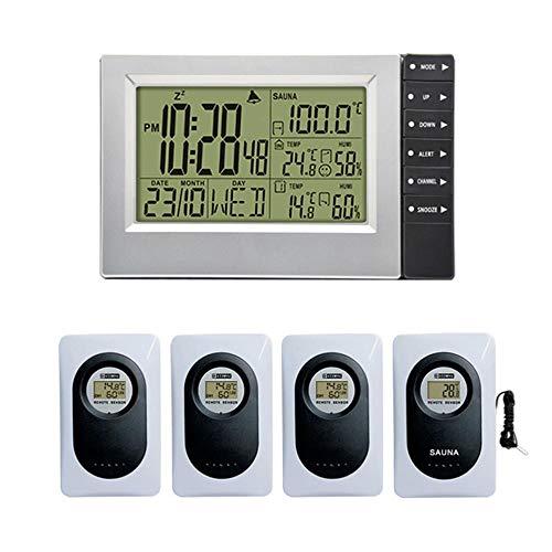 ZKDY Estación Meteorológica Inalámbrica Pantalla Digital Reloj Despertador Temperatura De La Sauna Termómetro Interior Al Aire Libre Higrómetro Más Arriba 4 Sensores-Cuatro Sensores