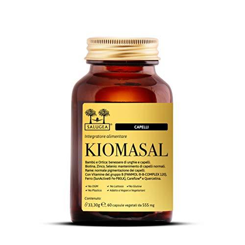 Kiomasal Salugea, Integratore per Capelli con Vitamine del Groppo B, Ferro, Oligoelementi e Amminoacidi - Flacone in Vetro, 60 Capsule