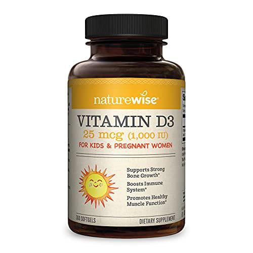 NatureWise Vitamina D3 1000 UI, función muscular saludable, salud ósea y apoyo inmunológico (suministro para 1 año, 360 unidades)