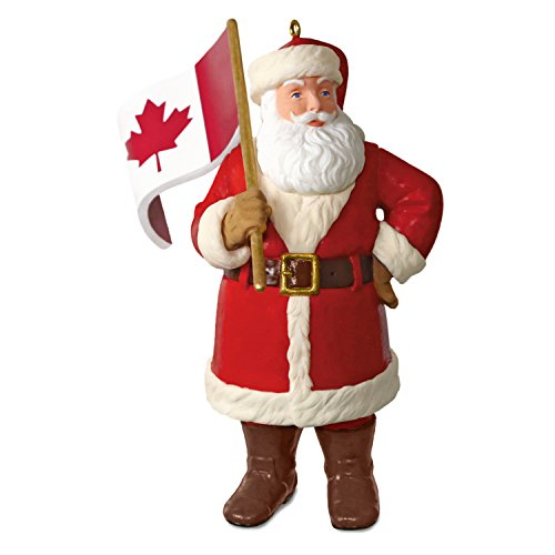 Hallmark Keepsake Christmas Ornament 2018 Year Dated, Canadian Flag, Canada Flag Santa