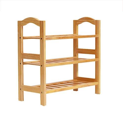 Porche, estante de almacenamiento de zapatos de 3/4 niveles, con listones, armario de almacenamiento de madera natural, organizador de muebles, artículos para el hogar (tamaño: 74 * 28 * 82,5 cm)