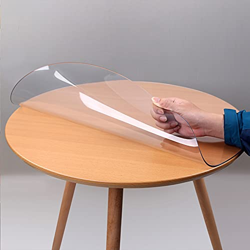 NBJT Protector redondo transparente para mesa de comedor, 1 mm, PVC suave, mantel de cristal, impermeable, no encoge, 70 x 70 cm, sin olor, 70 x 27,5 pulgadas