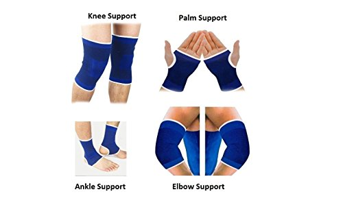 JMO27Deals Combo of Ankle, Palm, Knee, Elbow Support, Guard, Braces (Blue, Free Size)