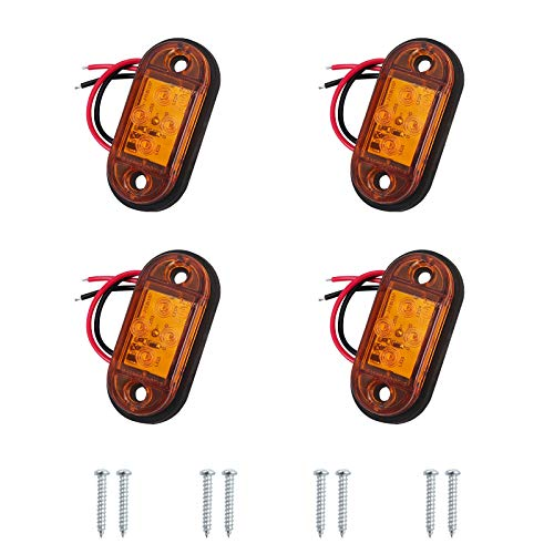 AUTOUTLET 4PCS Luces Laterales, Luces de Posición, 4 Luces LED de Posición Lateral, con Estándar E11, IP68 Impermeable, 12V/24V, para Camión, Remolque, Furgoneta, Luces de Color Ámber