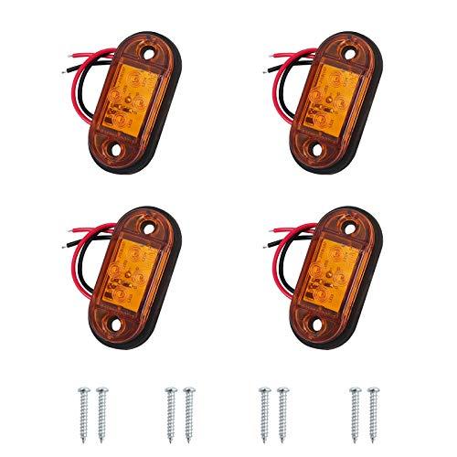 AUTOUTLET 4X Seitenleuchten, 4 LED Seitenmarkierungsleuchten Lampen Universal Positionslicht 12V 24V für LKW Anhänger Van Caravan LKW Auto Bus, erfüllen DOT, E11 Standard gelben Glühbirnen