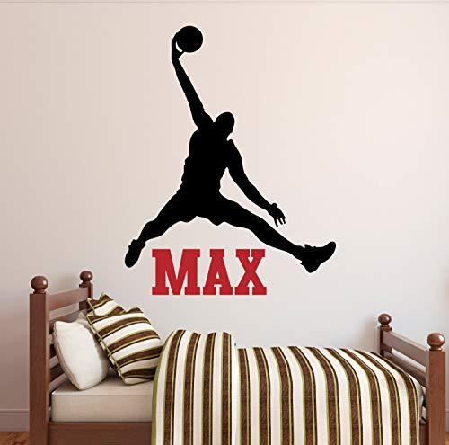 Promini Basketbal Naam Muursticker Jumpman Decal Jongens Naam Decal Kids Kamer Decor Decoratieve Muursticker in Brede 24