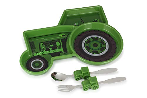 KidsFunwares Me Time Meal Set (Tractor) – 3-Piece Set for Kids and Toddlers – Plate, Fork & Spoon that Children Love - Spark your Child's Imagination & Teaches Portion Control - Dishwasher Safe