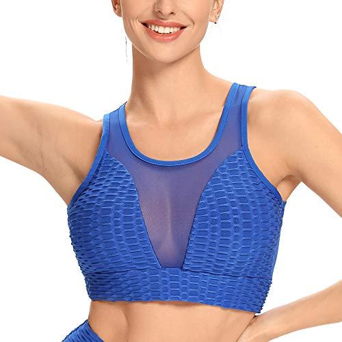 WOWENY Sujetador deportivo de malla para mujer, acolchado, sujetador deportivo sin aros, encaje sexy de panal de miel para yoga, correr, yoga, entrenamiento, fitness, ropa diaria azul S