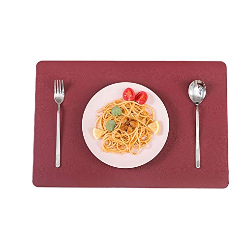 Tovagliette Americane Lavabili Set di tovagliette da tavola Antiscivolo, Pelle,Lavabile,antimacchia, Resistente al Calore, 6 Pezzi, 30x45cm (Color : Rose Red)