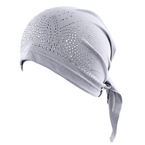 Bluelans® Women's Schal Pre Tied Chemo Hut Mütze Turban Kopftuch für Haarverlust, Krebs, Chemotherapie (Grau)