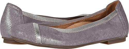 Vionic Women's Spark Caroll Ballet Flat - Ladies Dress Casual Shoes with Concealed Orthotic Arch Support Pewter 5 Medium US