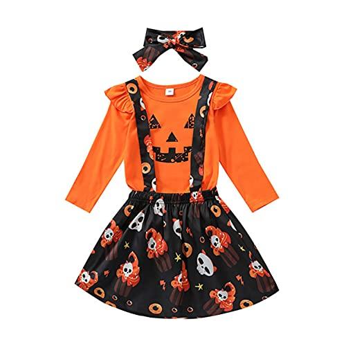 Set di vestiti per Halloween con zucca, bretelle e gonna a ragno, con fascia per bambini e bambine, vestiti di Halloween, Arancione, 3-4 Anni