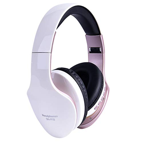 ACHICOO Draadloze Hoofdtelefoon Blueteeth Headset Opvouwbare Stereo Hoofdtelefoon GaM-ing Koptelefoon Ondersteuning TF Kaart met M-ic voor PC Alle Telefoon Mp3, Kleur: wit