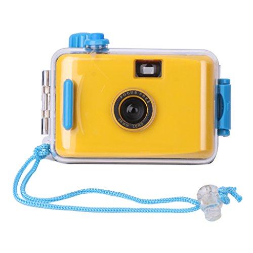 Xuniu Cámara Lomo Impermeable subacuática, Mini película Linda de 35 mm con Estuche para Carcasa - Amarillo