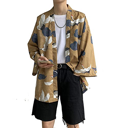 Camiseta Japonesa para Hombre, Bata Kimono Seda, Ropa Calle China, Abrigo Kimono Harajuku