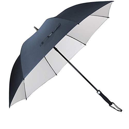 G4Free 62 Inch Windproof UV Protection Golf Umbrella Extra Large Silver Coated Automatic Open Silver Coated Stick Umbrellas (Navy Blue)