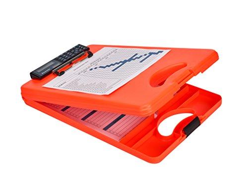 Saunders 53402 DeskMate II Safety mit Taschenrechner, Klemmbrett auf Formularkassette mit Griff, unten öffnend, unterteiltes Innenfach, Kunststoff, Signalfarbe neonorange, für DIN A4