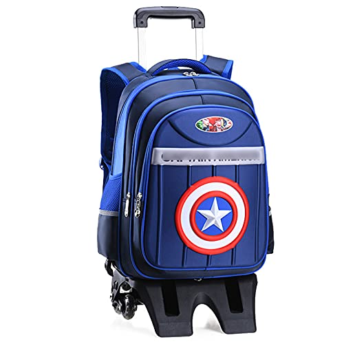 LQ-ZHUOJIAO Mochila De Capitán América para Niños, Mochila Escolar para Niños, Superhéroe, Mochila con Impresión 3D, Mochila De Viaje para Adolescentes,Blue-M...