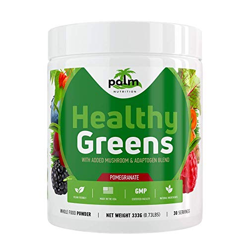 Healthy Greens Superfood Powder - Best Organic Greens Supplement with Spirulina, Chlorella, and Antioxidants I Green Drink Powder for Weight Loss, Detox, and Energy Boost I 30 Servings I (Pomegranate)