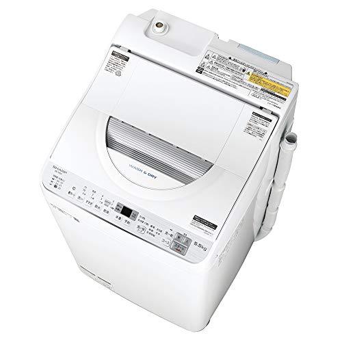 シャープ SHARP タテ型洗濯乾燥機 幅56.5cm(ボディ幅52.0cm) 洗濯・脱水容量 5.5kg ステンレス穴なし槽 シ...