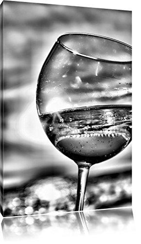Pixxprint Weingläser am Meer als Leinwandbild | Größe: 100x70 cm | Wandbild | Kunstdruck | fertig bespannt