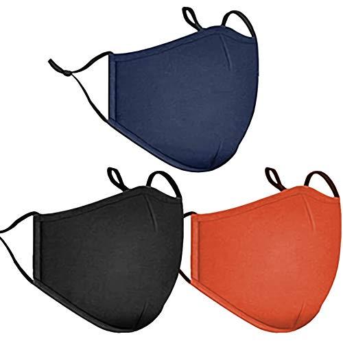 Fashion Cloth Fabric Face Washable Protection, Earloop Bandana Balaclava Black Dust Men and Women Reusable Mask,Reusable,Washable (Black+Navy Blue+Orange)