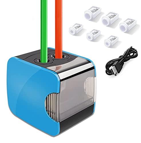Sacapuntas de lápiz eléctrico, Oladwolf Sacapuntas automático pencil sharpener con dos agujeros, Batería de sacapuntas...