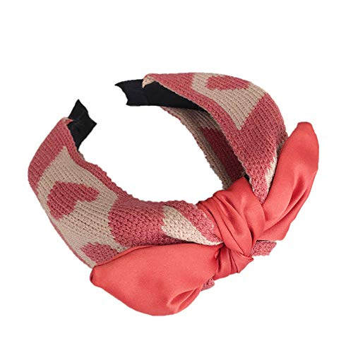 Accessoires pour cheveux Accessoires cheveux tricot laine amour bowknot cheveux sauvages cerceau bandeau pression cheveux femelle-rose