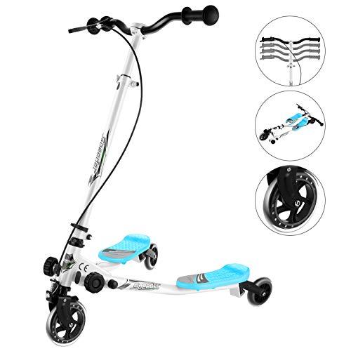 Kinder Roller Y Fliker,Kickscooter klappbar, Scooter Roller 3-Rad-Swing-Tri Tretroller Cityroller Kickscooter Höhenverstellbar, 360 °-Drehungen Kickboards für Mädchen Jungen