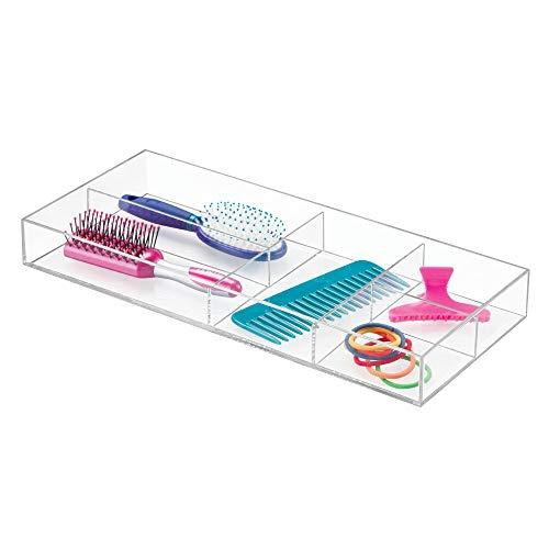 iDesign Aufbewahrungsbox, Badablage aus Kunststoff mit 5 Fächern zur Aufbewahrung von Kosmetik auf dem Waschtisch oder in der Schublade, Badezimmer Zubehör, durchsichtig, XXXL: 40,6 x 17,8 x 5 cm