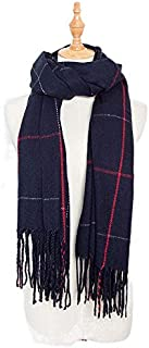 VIOAPLEM VIOAPLEM Gift Europe and America Autumn Winter Imitation Cashmere Large Plaid Scarf Ladies Increase Tassel Fashion Keep Warm Shawl (Color : Navy blue, Size : 200cm)