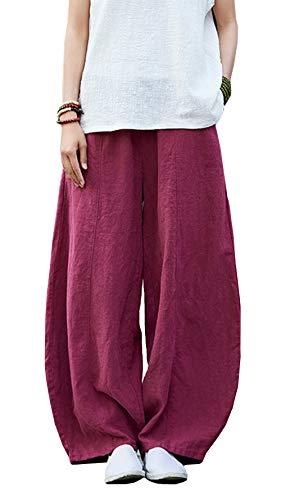 Happy Cherry - Femme Pantalon Large Lin Coton Pantalon Ample Casual Pants Bouffant avec Poches Yoga Sport Danse Élastique Taille Élastique Rouge Vineux