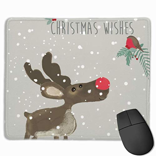 Mouse Pad Winter Reindeer Mousepads Non-Slip Rubber Gaming Mouse Pads Mat for Computers Laptop 9.8 Inch X 11.8 Inch