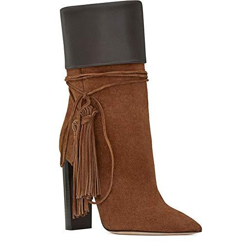 YMN Contrasterende kleuren Hoge hak enkellaarzen, puntige enkellaarzen Comfortabele dames 8cm hak, geschenken voor vriendinnen en moeder (bruin)