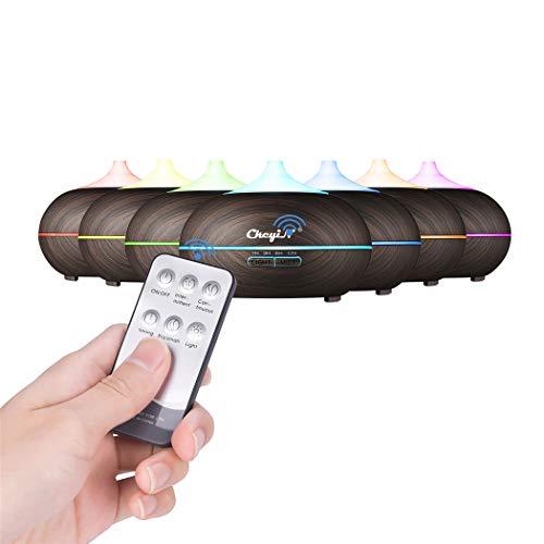 CkeyiN-Diffusore di Aromi,Diffusore Umidificatore, Spegnimento Automatico, 7 luci LED, 4 modalità a Regolare Tempo e Telecomando, prefetto per Camera, Yoga, Spa,Capacità 550ML