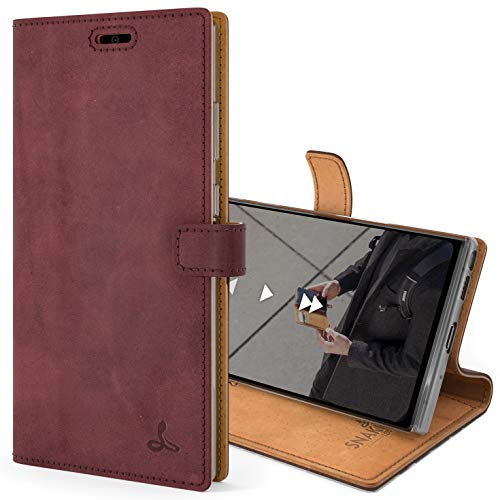 Snakehive Vintage Wallet for Samsung Galaxy Note 20 Ultra || Real Leather Wallet Phone Case || Genuine Leather with Viewing Stand & 3 Card Holder || Flip Folio Cover with Card Slot (Plum)