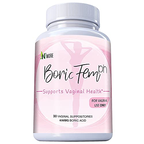 Boric Acid Vaginal Suppositories - 30 Count, 600mg - 100% Pure Made in USA - Boricfem Support Vaginal Health (1 Bottle (30 Capsules))