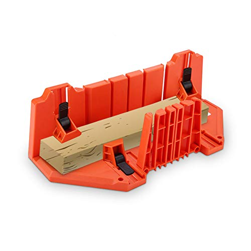 Mitre Box 35,5 x 11 x 15 cm, sierras de plástico para cortar madera, herramienta de herramientas de 35,5 cm con abrazadera, para trabajos de construcción, ventanas de bahía, corte en ángulo