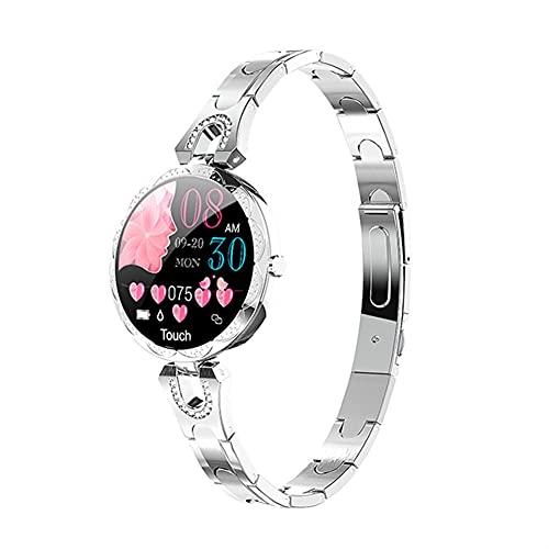 Reloj inteligente, rastreador de actividad física con monitor de presión arterial de frecuencia cardíaca, reloj impermeable con monitor de sueño, contador de calorías para mujeres (color AK15 Silver)