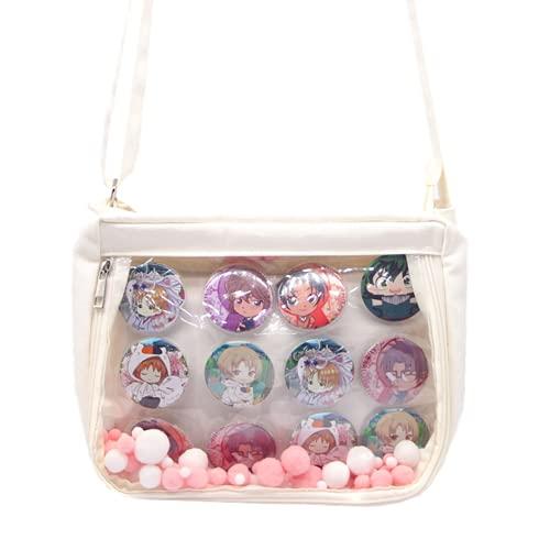 KKEY BIG Crossbody Itabags Purse Anime Bag DIY Transparent Bag Ita Bag Shoulder Bag (white)