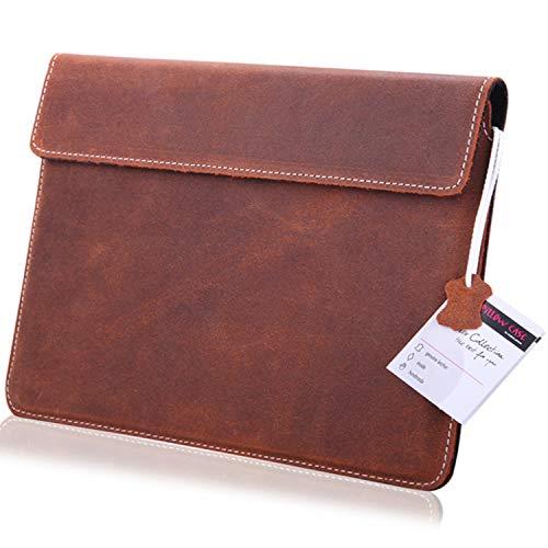 MOELECTRONIX ECHT Leder Tablet Hülle passend für Microsoft Surface GO | Schutz Tasche Lederhülle Slim Tab mit Magnetverschluss | 1A BRAUN
