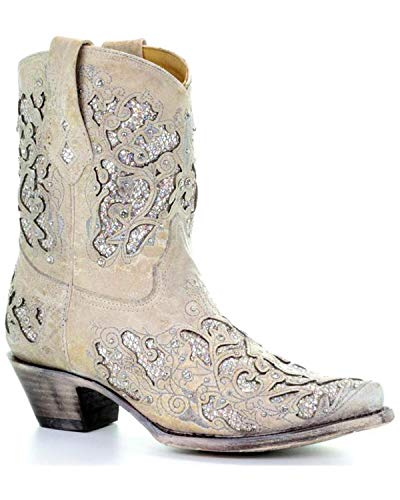 Corral Ld White Glitter Inlay & Crystals Ankle Boots ,Size 7