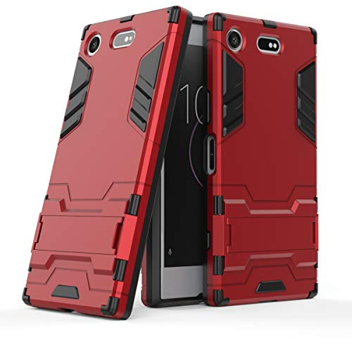 Cocomii Iron Man Armor Sony Xperia XZ1 Compact Hülle, Schlank Dünn Matte Vertikaler und Horizontaler Ständer Verstärkter Fallschutz Mode Hülle Bumper Cover Schutzhülle for Sony Xperia XZ1 Compact (Red)