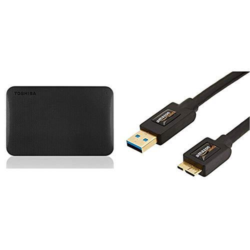 Toshiba Canvio Ready 2TB Externe Festplatte (6,4 cm (2,5 Zoll) USB 3.0) schwarz & AmazonBasics USB-3.0-Kabel A-Stecker auf Micro-B-Stecker (0,9 m)