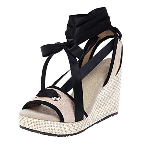 For Sale! KCPer Womens Lace Up Platform Wedge Espadrille Heel Peep Toe Slingback D'Orsay Sandals Boh...